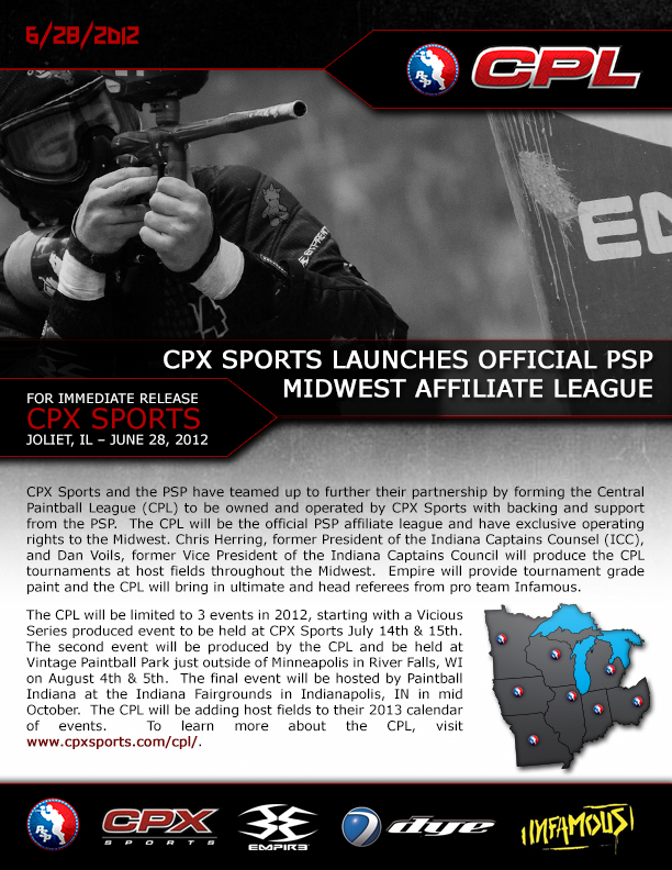CPX Sports Announces the CPL - Central Paintball League