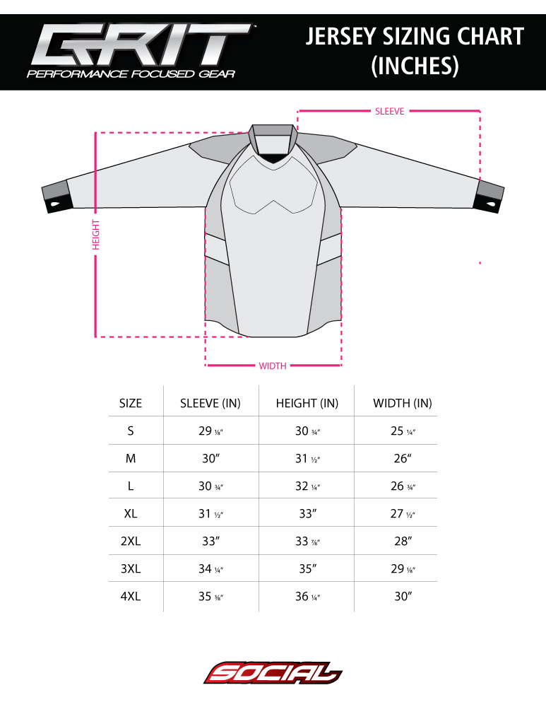 Grit Paintball Jersey Sizing Chart